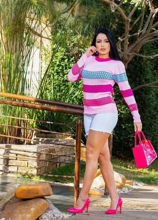 Blusa feminina tricot listras bolinhas blusa de frio outono/inverno