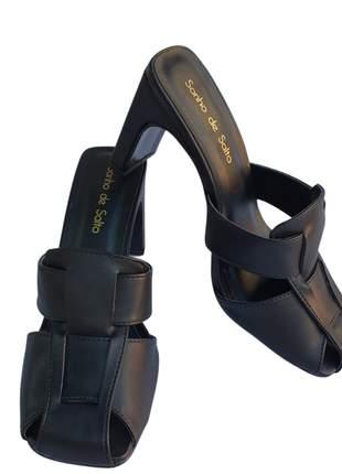 Tamanco mule feminino salto médio reto bico quadrado