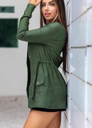 Jaqueta feminina , plus size parka acinturada em bengaline moda blogueiras cod lau..