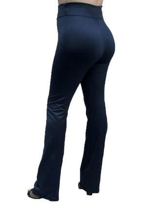 Calça flare bailarina modeladora com cintura alta azul marinho
