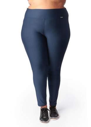 Calça legging modeladora plus size suplex com cintura alta azul marinho