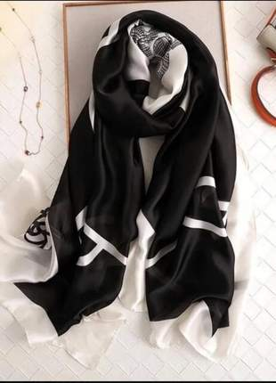 Echarpe lenço de luxo seda camélia