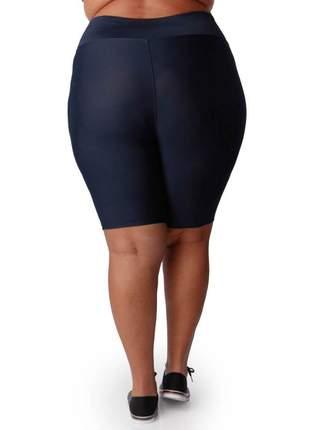 Bermuda fitness com cintura alta plus size azul marinho