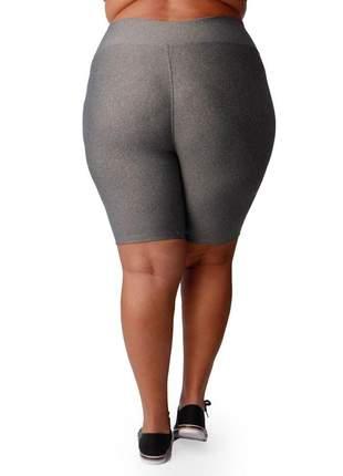 Bermuda fitness com cintura alta plus size cinza