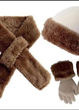 Kit touca cachecol luva pelúcia europeu russa inverno frio