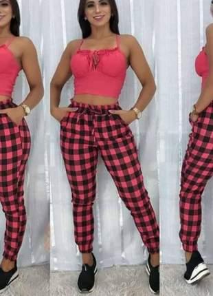 Calça jogger calça xadrez bengaline calça quadriculada calça feminina