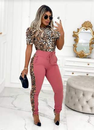 Conjunto animal print calça + blusa princesa/bufante