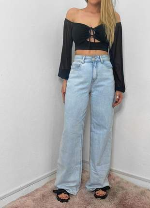 Calça wide leg jeans clara