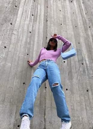 Calça jeans reta rasgos