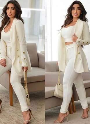 Conjunto feminino max blazer longo botões cropped e calça cbp-205
