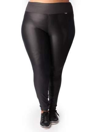 Calça legging em cirre plus size preta