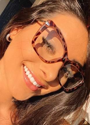 Armação para óculos de grau feminina tigrada tartaruga oncinha retangular