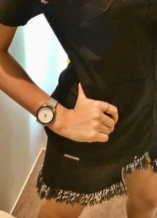 Saia jeanseria algodão jeans black modelagem com franjas