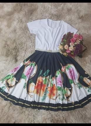 Vestido feminino midi boneca godê evangelico com cinto