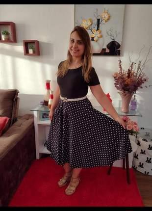 Vestido midi gode com cinto especial roupas evangélicas femininas