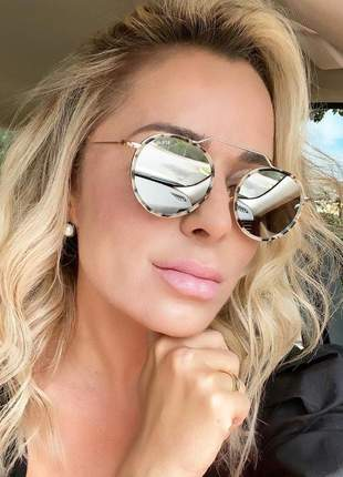 Óculos de sol illesteva redondo preto prata leopardo rosa tartaruga feminino masculino