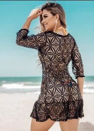 Saída de praia curta vestido de verão tendência moda praia