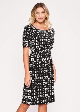 Vestido estampado feminino com botões preto - 06096