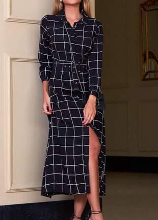 Vestido chemise social + cinto em viscose raika - manga 3/4 - moda feminina