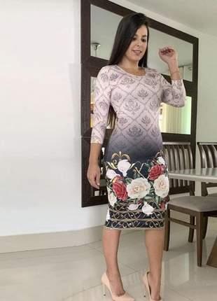 Vestido tubinho manga longa estampa de rosas - moda evangélica