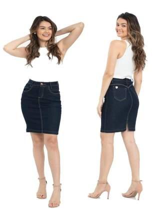 Saia jeans com elastano clássica  - moda executiva evangélica