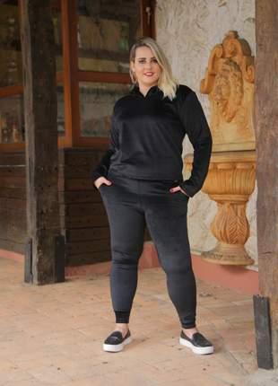 Moleton feminino plush inverno plus size com capuz