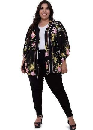 Kimono plus size eduarda preto floral