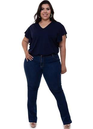 Blusa plus size hortênsia azul marinho