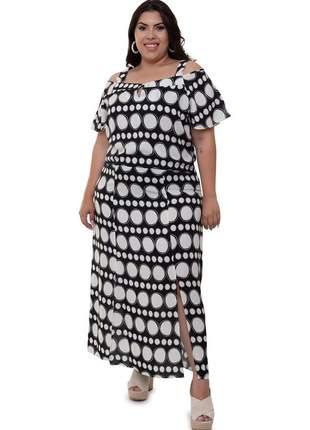 Vestido plus size de poa longo luma