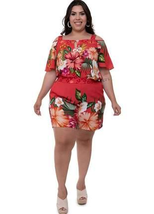 Conjunto plus size de shorts e blusa rubi