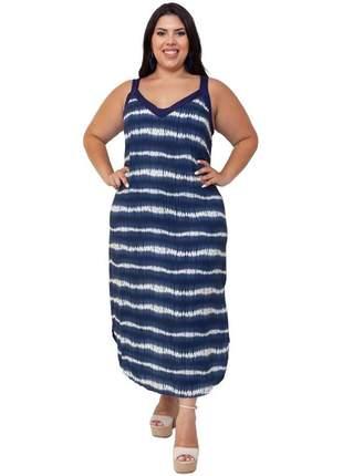 Vestido plus size  tay day azul marinho com branco laura