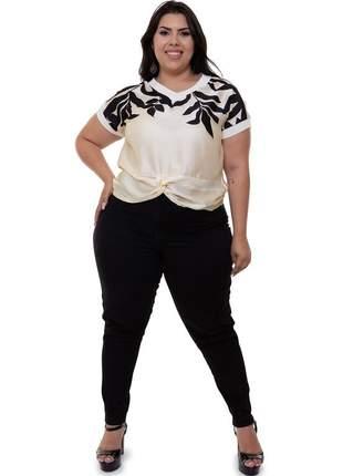 Blusa plus size off-white com preto monica