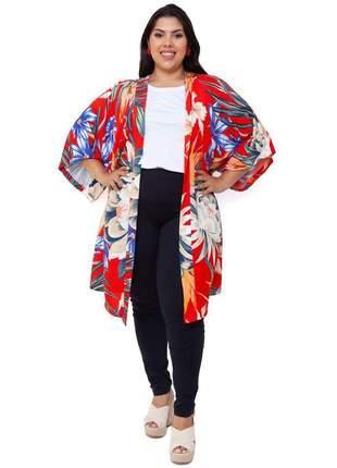 Kimono plus size longo vermelho bruna