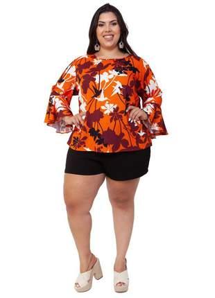 Blusa plus size laranja isadora
