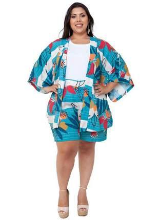 Conjunto plus size com shorts e kimono raquel