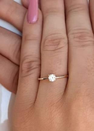 Anel solitário, anel de noivado, anel debutante banhado a ouro
