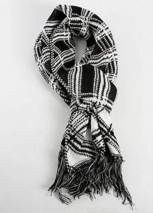 Cachecol ramarim preto branco cachecol01