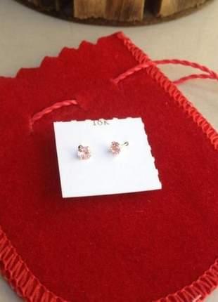 Brinco em ouro 18k ponto de luz rosa 3mm