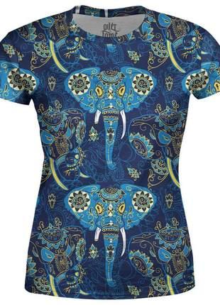 Camiseta baby look feminina elefante indiano estampa total