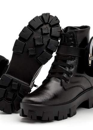 Coturno feminino bota tratorada tendência + bag