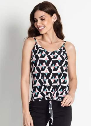 Blusa de alcinha feminina geométrica branco colorida 6192115022