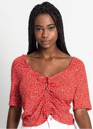 Blusa cropped poá vermelho feminina 61553251567