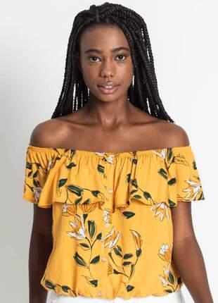 Blusa ciganinha floral mostarda feminina 61521052047