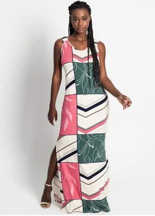 Vestido longo estampado rosa feminino 6154935904