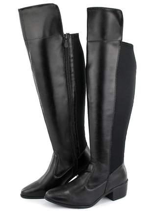 Bota over feminina cano alto salto baixo zíper confortável preto