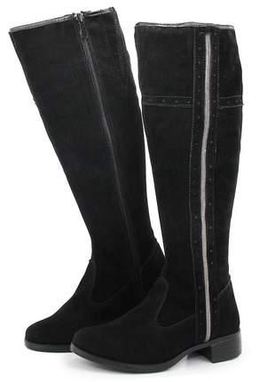 Bota montaria feminina cano alto salto baixo zíper camurça preta