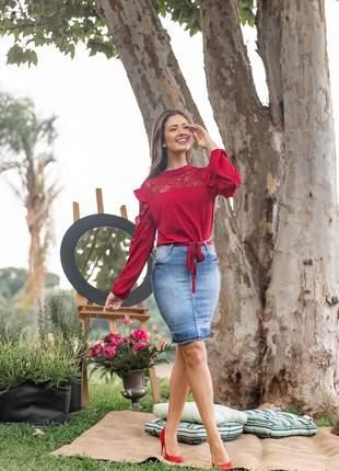 Saia jeans sky elastano feminina longuete 2220411