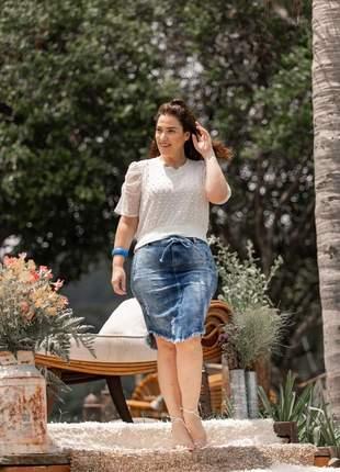 Saia jeans evangélica longuete com elastano 2220410