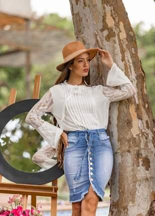 Saia jeans longuete com elastano 2210404