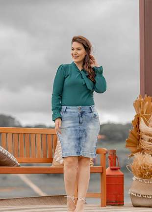 Saia jeans evangelica com elastano feminina basica 2220401
